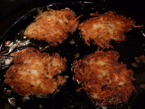 Frying Latkes in a Cast Iron Skillet