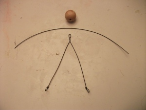 Wooden Head Bead, Arm Wire, and Torso - Leg Wire