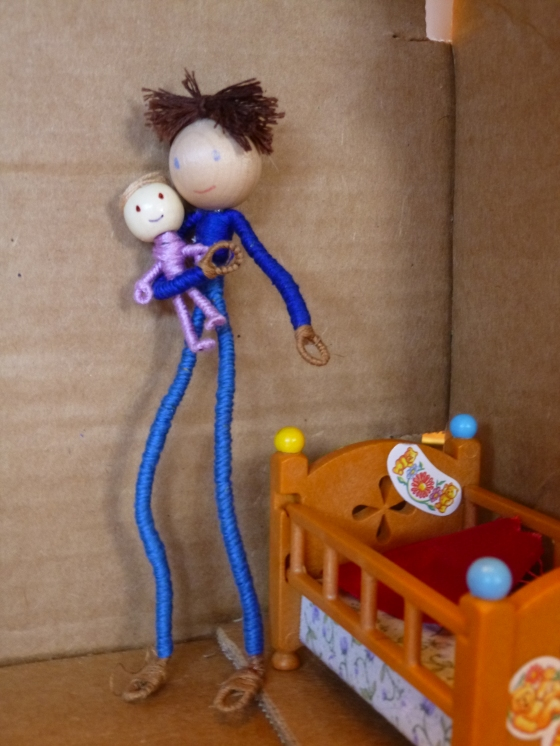 Long-Legged Doll in Pants with Baby