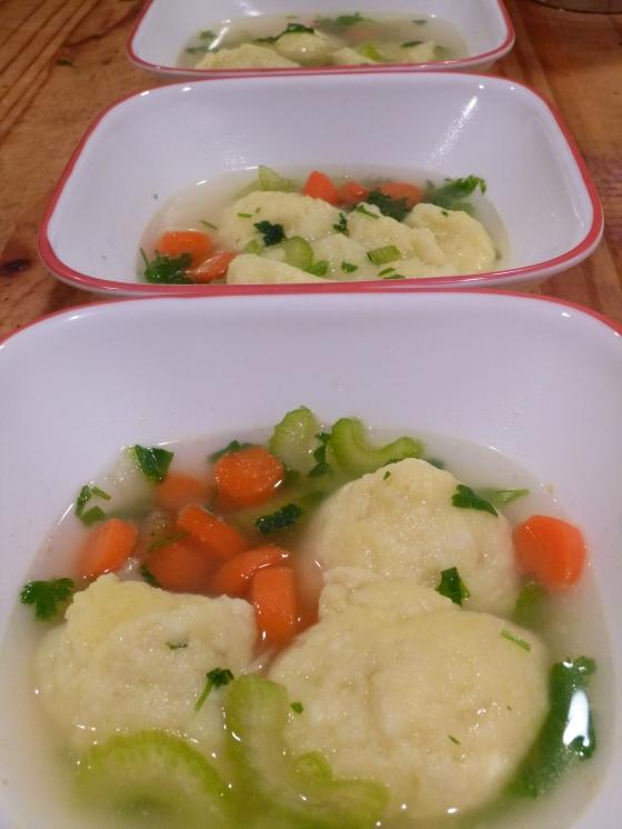 Granita's Matzoh Ball Soup with Gluten-Free Potato Kneidlach