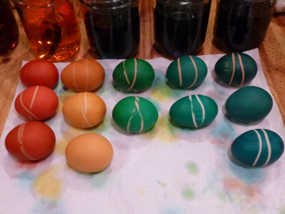 Eggs Drying after Dyeing