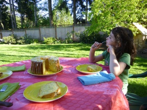 cake in the backyard © Rebecca Rockefeller