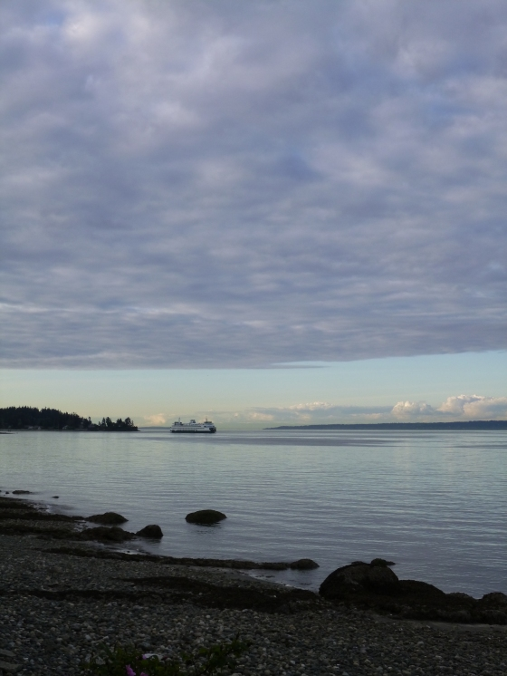 Ferry Seen from Rockaway Beach, Bainbridge Island, WA photo © Rebecca Rockefeller